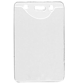 Vertical Top Load Clear Vinal Badge Holder with Slot/Chain Holes - 100 pack
