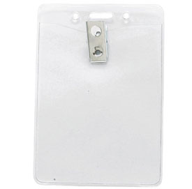 clear vinyl badge holder w 2 hole clip vertical 100 pack